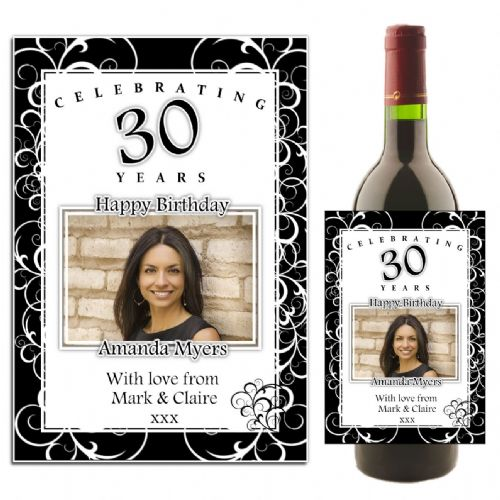 Personalised Black & White Swirls Happy Birthday Wine / Champagne Bottle PHOTO Label N35